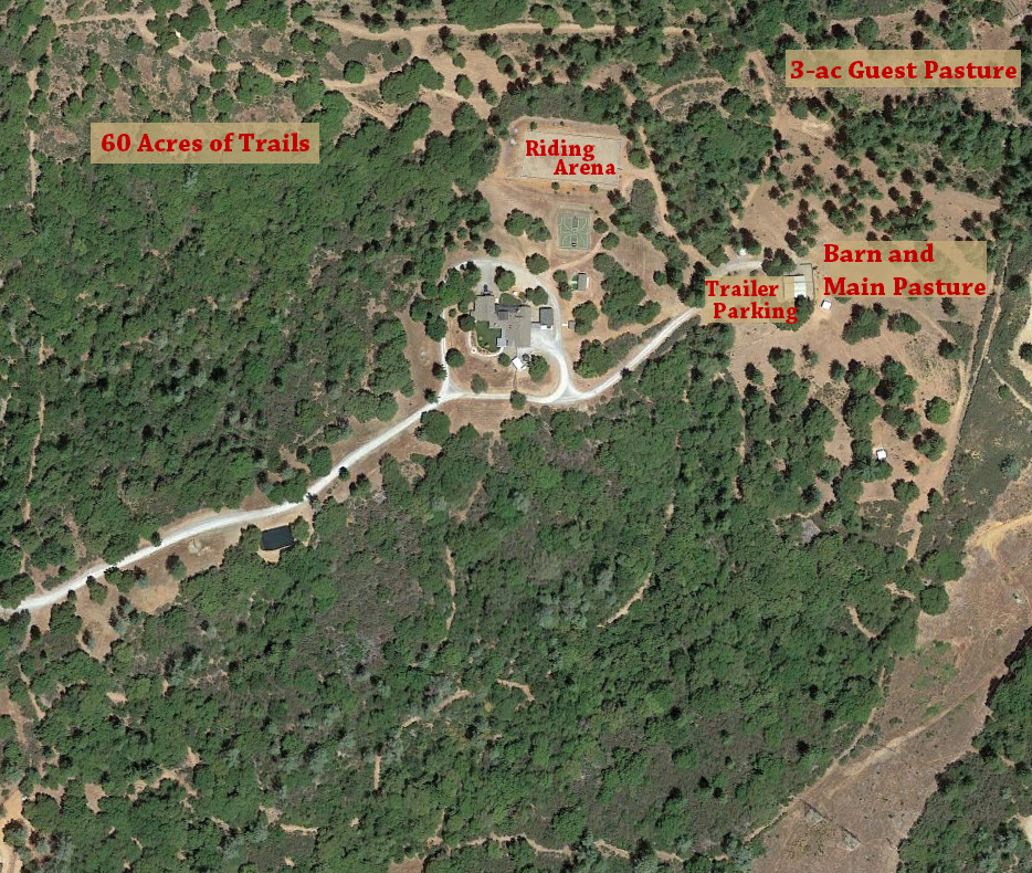 Satellite layout of horse facilities at the Dog and Pony Ranch