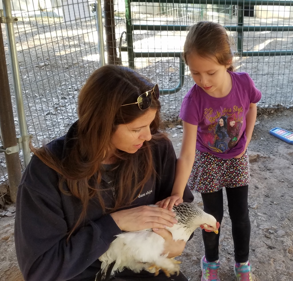 Petting the chickens at the Dog & Pony Ranch